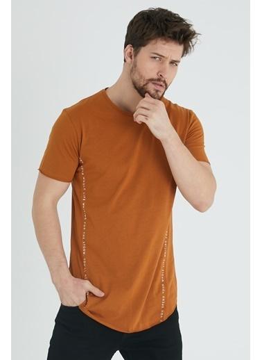 XHAN Hardal Yanı Baskılı T-Shirt 1Kxe1-44621-37 Taba